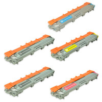 Remanufactured Brother TN221/TN225 Series - Set of 5 High Yield Laser Toner Cartridges