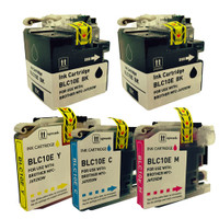 Compatible Brother LC-10E 5-Pack Super High Yield Ink Cartridges: LC-10EBK, LC-10EC, LC-10EM, LC-10EY