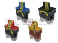 Compatible Brother LC-41 - Set of 4 Ink Cartridges: 1 each of Black, Cyan, Yellow, Magenta