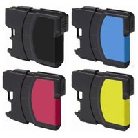 Compatible Brother LC-61 - Set of 4 Ink Cartridges: 1 each of Black, Cyan, Yellow, Magenta