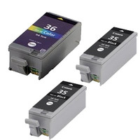 Compatible Canon PGI-35BK, CLI-36C Set of 3 Ink Cartridges: 2 Black & 1 Color