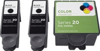 Remanufactured Dell Series 20 DW905, DW906 Set of 3 Ink Cartridges: 2 Black & 1 Color