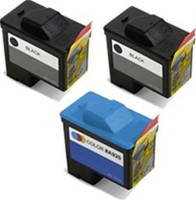 Remanufactured Dell Series 1 Set of 3 Ink Cartridges: 2 Black & 1 Color