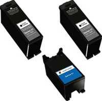 Remanufactured Dell Series 23 Set of 3 High Yield Ink Cartridges: 2 Black & 1 Color