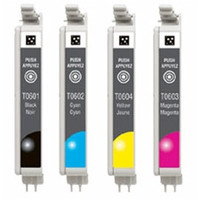 Remanufactured Epson Stylus CX3700 - Set of 4 Ink Cartridges: 1 each of Black, Cyan, Yellow, Magenta