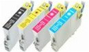 Remanufactured Epson Stylus CX4400, CX4450 - Set of 4 Ink Cartridges: 1 each of Black, Cyan, Yellow, Magenta