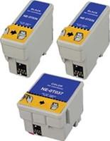 Remanufactured Epson Stylus C42 Set of 3 Ink Cartridges: 2 Black & 1 Color