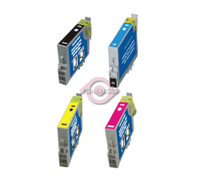 Remanufactured Epson Stylus C64/66 - Set of 4 Ink Cartridges: 1 each of Black, Cyan, Yellow, Magenta