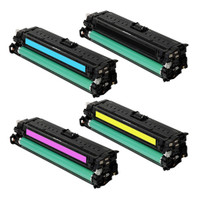 Remanufactured HP CP5525 (650A) Set of 4 Laser Toner Cartridges: 1 each of Black, Cyan, Yellow, Magenta