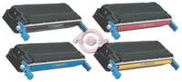 Remanufactured HP Color LaserJet 5500, 5550 Series - Set of 4 HP 645A Toner Cartridges: 1 each of Black, Cyan, Yellow, Magenta