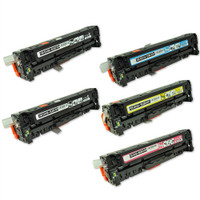 Remanufactured HP LaserJet Pro M375, M451, M475 (HP 305A) - Set of 5 Laser Toner Cartridges: 2 Black, 1Cyan, 1 Yellow, 1 Magenta.