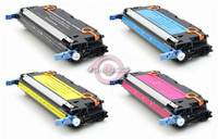 Remanufactured HP Color LaserJet 3800 - Set of 4 (HP 501A, 503A) Toner Cartridges: 1 each of Black, Cyan, Yellow, Magenta