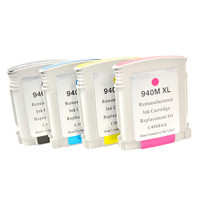 Remanufactured HP 940XL - Set of 4 Ink Cartridges: 1 each of Black, Cyan, Yellow, Magenta
