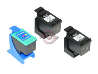 Remanufactured HP C8765WN,C8766WN - Set of 3 Ink Cartridges: 2 Black, 1 Color