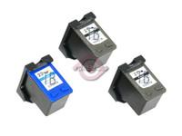 Remanufactured HP C9351AN,C9352AN - Set of 3 Ink Cartridges: 2 Black, 1 Color
