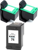 Remanufactured HP 74/75 Set of 3 Ink Cartridges: 2 Black & 1 Color
