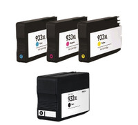 Remanufactured HP 932XL, 933XL Set - Set of 4 InkJet Cartridges: 1 each of Black, Cyan, Yellow, Magenta