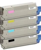 Remanufactured Okidata C6100 Series - Set of 4 Laser Toner Cartridges: 1 each of Black, Cyan, Yellow, Magenta