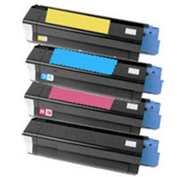 Remanufactured Okidata C3100 Series - Set of 4 Laser Toner Cartridges: 1 each of Black, Cyan, Yellow, Magenta