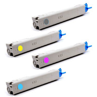 Remanufactured Okidata C3400n Series - Set of 4 Laser Toner Cartridges: 1 each of Black, Cyan, Yellow, Magenta
