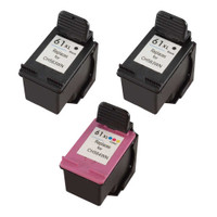 Compatible HP 61XL Set of 3 High Yield Ink Cartridges: 2 Black & 1 Color