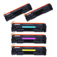 Compatible HP 202X Toner Cartridges High Yield Set of 5 (2 Black)