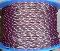 Rope 5mm Polyester - Black with pink (per metre)