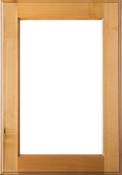 Unfinished  Square Glass Panel Superior Alder Cabinet Door