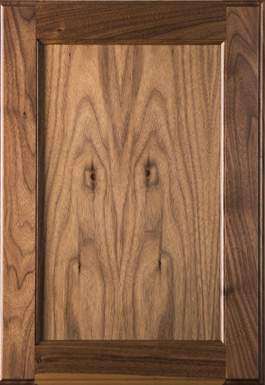 Square Flat Panel Walnut Cabinet Door