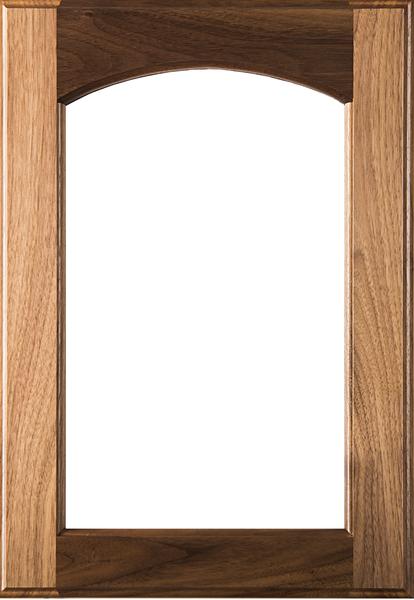 Eyebrow Arch Glass Walnut Door with Clear Finish