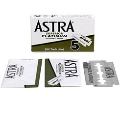 Astra Superior Platinum Double Edge Safety Razor Blades 5 ct.