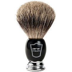 Parker Deluxe Black and Chrome Pure-Badger Shaving Brush