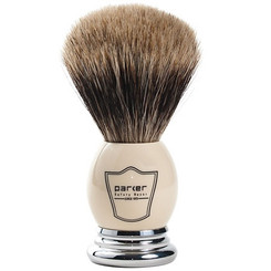 Parker Deluxe Classic White and Chrome Pure Badger Shaving Brush