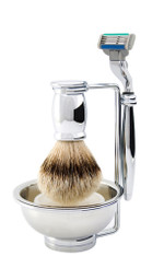 Edwin Jagger Bulbous Chrome Four-Piece Luxury Shaving Set with Mach 3