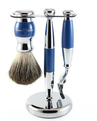 Edwin Jagger Luxury Blue Chrome Shaving Set Mach 3