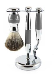 Edwin Jagger Luxury Gray Chrome Shaving Set Mach 3 Vegan S81M355CR