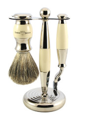 Edwin Jagger Luxury Ivory Shaving Set Mach 3 Vegan  S21M367CR