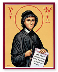 "Icon of Saint Elizabeth Ann Seton from Monastery Icons - 3""W x 4""H"