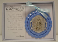 "My Guardian Angel Crib Medal, Blue - 3.5"", Giftboxed"