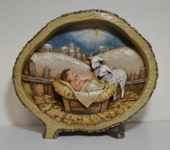 Jesus and Lambs in an Oval Log, 8 1/2""