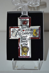 "God Loves All Creatures 5"" Metal Cross w/Color Enamel Accents"