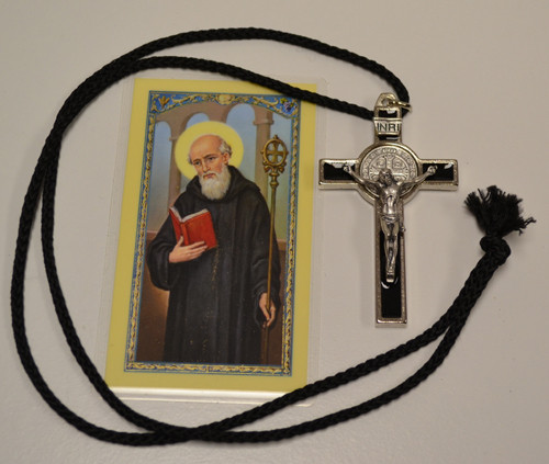 St Benedict Crucifix Necklace w/Holy Card