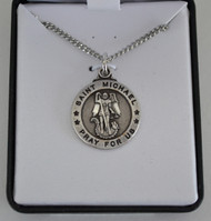 small silver plated St Michael medal