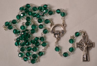 Claddagh Centerpiece rosary, green beads