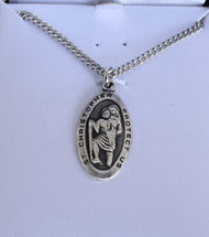 "St. Christopher Small Oval Medal, 18"" Necklace"