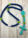 Chews Life Teething Rosary, Navy and Green Beads