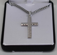 "1"" Square Cross with a Brushed Finish and Brilliant Cut Edge"