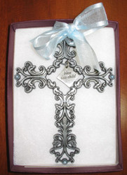 Bless This Child - Pewter Filigree Wall Cross - Blue, 5""