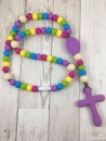 Chews Life Teething Rosary, Purple Rainbow Colored Beads