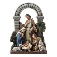 "Nativity Scene w/Holy Family, Shepherd and Lambs, 8.5""H, by Joseph's Studio"